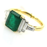 Estate 2.50ct Emerald & 0.80ct Diamond 18K Yellow & White Gold Ring DB5-12