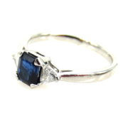 Fine Estate 0.55ct Emerald Cut Sapphire & 0.30ct Diamond Platinum Ring DB5-15