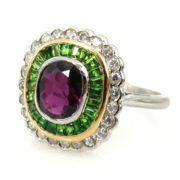 Fine 1.25ct Ruby 0.75ct Demantoid Garnet & 0.48ct Diamond 18K White Gold Ring DB5-16