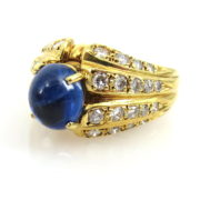 Vintage 2.50ct Natural Sapphire & 1.20ct Diamond 18K Yellow Gold Ring DB5-17