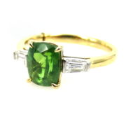 Fine 1.50ct Demantoid Garnet & 0.24ct Diamond 18K White & Yellow Gold Ring DB5-18