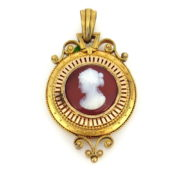 Antique 1800's Carved Shell Cameo 18K Yellow Gold Locket Pendant DB5-20