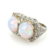 Antique 6.0ct Opal & 0.90ct Old Cut Diamond Platinum Twin Ring DB5-21