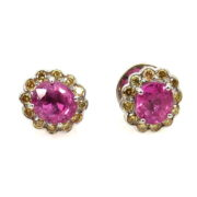 Fine 1.0ct Ruby & 0.50ct Yellow Diamond 18K White Gold Stud Earrings DB5-22