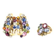 Vintage 12.50ct Fancy Multi Color Sapphire & Diamond 14K Yellow Gold Ring & Brooch Set DB5-24