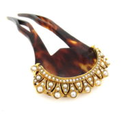Antique Natural Pearl & Tortoise Shell 18K Gold Large Size Hair Clip DB5-26