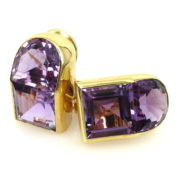 Estate 15.0ct Natural Amethyst 18K Yellow Gold Clip Earrings DB5-10