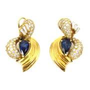 Vintage 3.0ct Diamond & 4.0ct Sapphire 18K Yellow Godl Drop Earrings SM22-1
