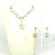Fine 37.05ct White & Fancy Yellow Diamond 18K Gold Neckalce & Earrings Set RO10-1