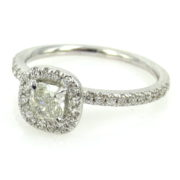 1.01ct Cushion & Round Diamond 18K White Gold Halo Engagement Ring DZ2-1