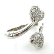 Rare Gerard 0.45ct Perfect Cut Diamond & 18K White Godl Twin Heart Ring GT11-1