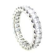 Fine 3.50ct FG/VS Emerald Cut Diamond & 18K White Gold Eternity Band DZ1-2