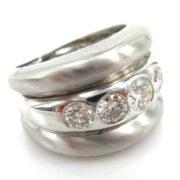 Rare Gerard 1.0ct EF/VS Diamond & 18K White Gold Satin Finished Ring GT11-2