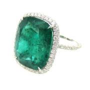 Fine 16.28ct Natural Emerald & 1.50ct Diamond 18K Gold Ring SM22-2