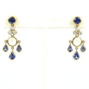 Rare Temple St Clair 0.36ct Diamond 5.70ct Tanzanite & Moonstone 18K Gold Dangling Drop Earrings WN36-2