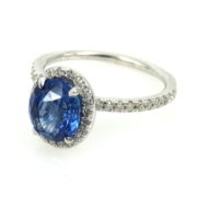 Fine 2.21ct Sapphire& 0.50ct Diamond 18K White Gold Halo Engagement Ring DZ2-2