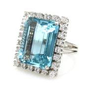 Vintage 20.0ct Natural Aquamarine & 1.50ct Diamond 18K White Gold Ring RO10-3