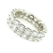Fine 5.77ct Emerald Cut Diamond & Platinum Double Row Eternity Band DZ2-3