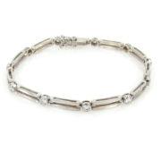 Gerard 0.90ct FG/VS Diamond & 18K White Gold Double l Bar Bracelet GT9-3