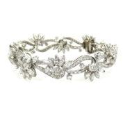 Vintage 12.50ct FG/VS Fancy Cut Diamond & Platinum Floral Bracelet SM22-5