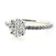 Fine 0.79ct Mixed Shape Diamond & 14K White Gold Ring DZ1-5