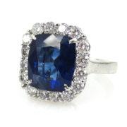 Fine 6.51ct Royal Blue Sapphire & 1.17ct Diamond Platinum Ring RO10-5