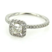 1.05ct Cushion & Round Diamond 18K White Gold Halo Engagement Ring DZ2-5