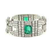 Certified Art Deco 16.0ct Old Cut Diamond & 10.0ct Emerald Platinum Bracelet SM22-6
