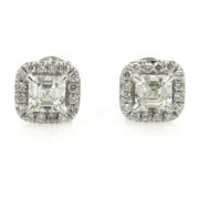 Fine 1.29ct Asscher & Round Cut 18K White Gold Halo Stud Earrings DZ2-6