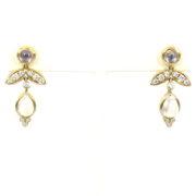 Temple St Clair Foglia 0.53ct Diamond & 3.40ct Moonstone 18K Yellow Gold Dangling Drop Earrings WN36-7