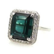 Fine 1.78ct Emerald Cut Chrome Tourmaline & 0.31ct Diamond 14K White Gold Ring  RO10-7