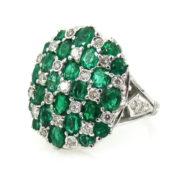 Fine 3.55ct Colombian Emerald & 0.41ct Diamond 18K White Godl Cluster Dome Ring RO10-8