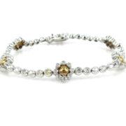Rare Gerard 1.80ct FG/V Diamond & 18K White & Yellow Gold Flower Cluster Bracelet GT11-8