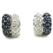Rare Gerard 0.55ct Diamond & 0.90ct Sapphire 18K White Gold Huggies Earrings GT11-12