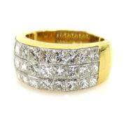 Fine 4.51ct DE/VS Quadrillion Cut Diamond & 18K Yellow Gold invisible Set Ring WN36-13