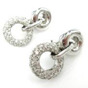 Rare Gerard 1.50ct EF/VS Diamond & 18K white Gold Drop Circle Earrings GT11-14