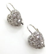 Rare 0.65ct Perfect Cut Diamond & 18K White Gold Heart Drop Earrings GT11-18