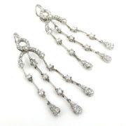 Rare 3.75ct Gerard Perfect Cut Diamond & 18K White Gold Dangling Drop Earrings GT11-19