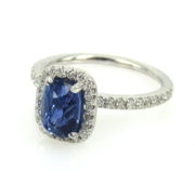 Fine 1.75ct Sapphire& 0.50ct Diamond 18K White Gold Halo Engagement Ring DZ2-4