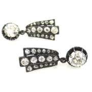 Antique 3.85ct Old Mine Cut Diamond Silver & Gold Drop Earrings RS3-001