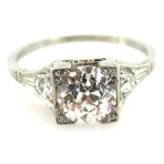 Antique Edwardian 1.21ct Old Mine Cut Diamond & Platinum Engagement Ring EN1-001