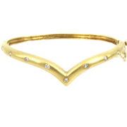 Vintage 0.49ct Diamond & 14K Yellow Gold Satin Finish Hinged Bangle WN39-001