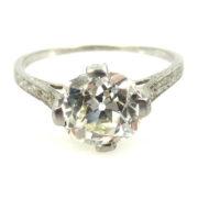 Antique Edwardian 2.50ct Old Mine Cut Diamond Platinum Engagement Ring GIA L-VS2 EN1-002