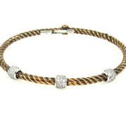 Estate Italian 0.80ct Diamond & 14K White & Rose Gold Hinged Rope Bangle WN39-002