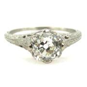 Antique Edwardian 1.28ct Old Mine Cut Diamond Platinum Engagement Ring KL-VS EN1-003
