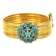 Vintage Turquoise & 22K Yellow Gold Hand Made Adjustable Mesh Bracelet A&N 231-003