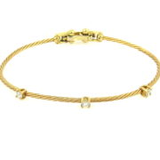 Estate Morelli 0.25ct Perfect Cut Diamond 18K Yellow Gold Flex Rope Bangle  WN39-003
