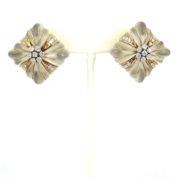 Vintage Italian 2.25ct Diamond & Rock Crystal Quartz 18K Yellow Gold Clip Earrings OA27-004