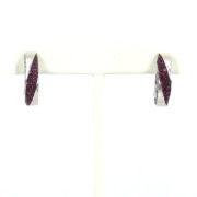 Estate Mauboussin Paris 3.60ct Ruby & 18K White Gold Huggies Earrings OA27-005