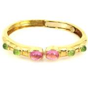 Vintage 6.0ct Green & Pink Tourmaline 18K Yellow Gold Hinged Bangle WN39-005
